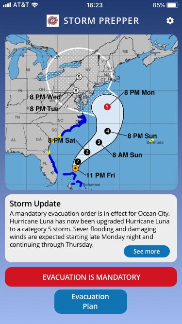 Image of Storm Prepper Evacuation Mandate Page