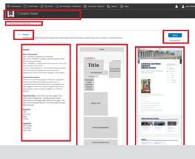 """Link to comparison of iterations on the """"View Example"""" drop down for the Content Layout options page"""